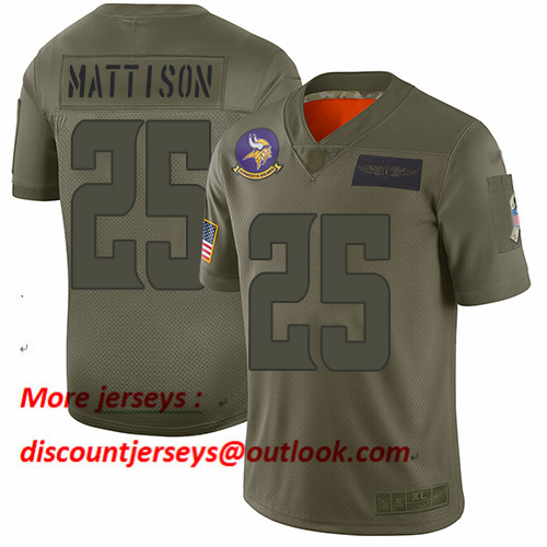 Vikings #25 Alexander Mattison Camo Men's Stitched Football Limited 2019 Salute To Service Jersey