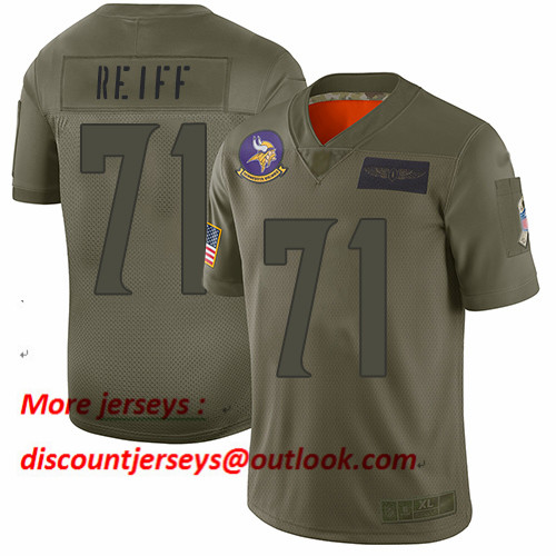 Vikings #71 Riley Reiff Camo Men's Stitched Football Limited 2019 Salute To Service Jersey