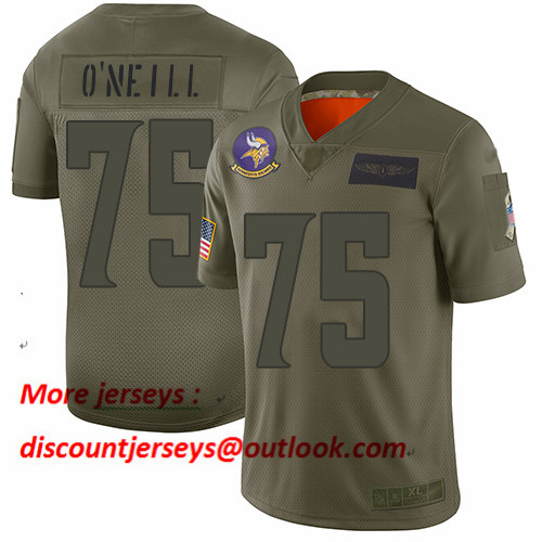 Vikings #75 Brian O'Neill Camo Men's Stitched Football Limited 2019 Salute To Service Jersey