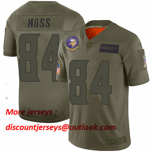 Vikings #84 Randy Moss Camo Men's Stitched Football Limited 2019 Salute To Service Jersey