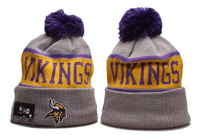 Vikings Team Logo Gray Pom Knit Hat YP