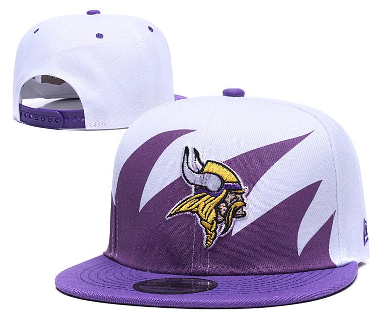 Vikings Team Logo White Purple Adjustable Hat GS