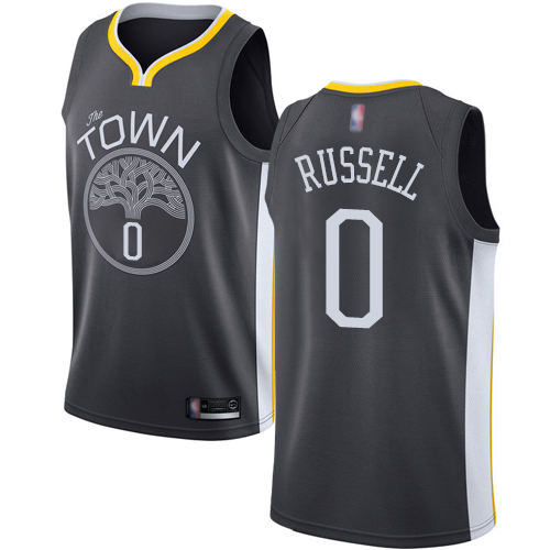 Warriors #0 D'Angelo Russell Black Basketball Swingman Statement Edition Jersey