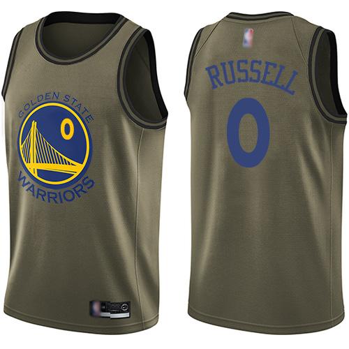 Warriors #0 D'Angelo Russell Green Basketball Swingman Salute to Service Jersey