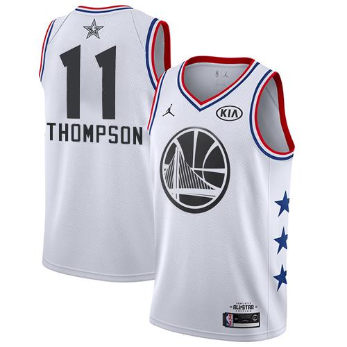 Warriors #11 Klay Thompson White Basketball Jordan Swingman 2019 All-Star Game Jersey