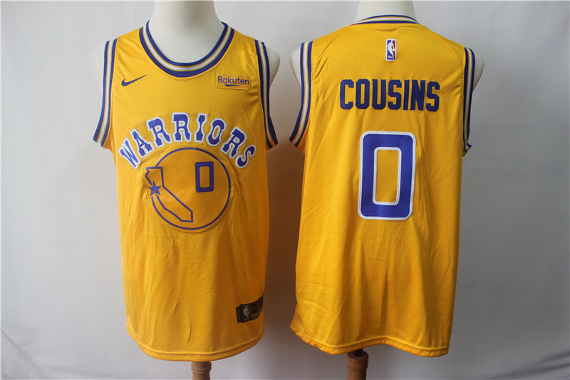 Warriors 0 DeMarcus Cousins Yellow Throwback Nike Swingman Jersey