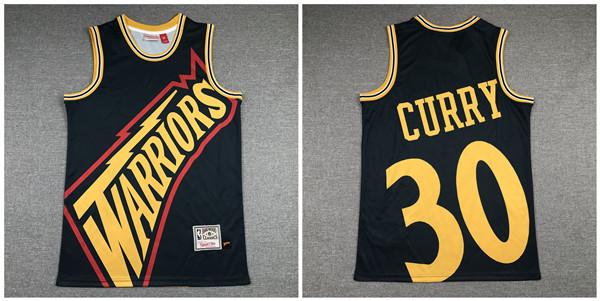 Warriors 30 Stephen Curry Black Hardwood Classics Jersey