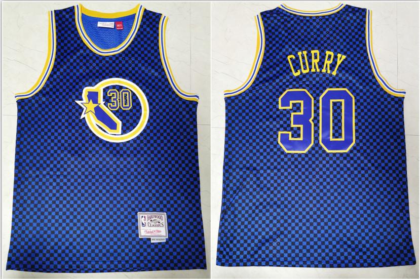 Warriors 30 Stephen Curry Blue Hardwood Classics Swingman Jersey