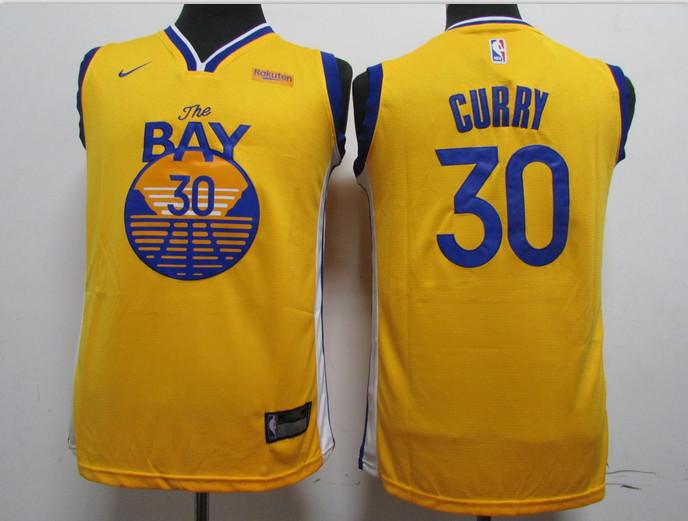 Warriors 30 Stephen Curry Yellow 2020 New Nike Swingman Jersey