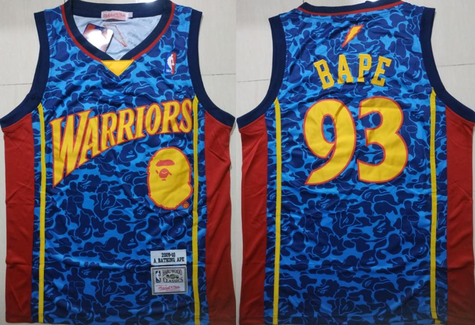 Warriors 93 Bape Blue 2009-10 Hardwood Classics Jersey