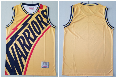 Warriors Big Face Yellow Hardwood Classics Swingman Jersey