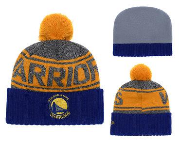 Warriors Team Logo Blue Cuffed Knit Hat With Pom YD