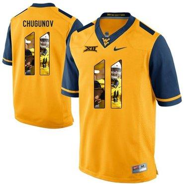 West Virginia Mountaineers Gold Chris Chugunov College Football Portrait Jersey