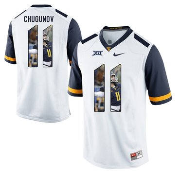 West Virginia Mountaineers White Chris Chugunov College Football Portrait Jersey