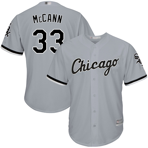 White Sox #33 James McCann Grey Road Cool Base Stitched Youth Baseball Jersey