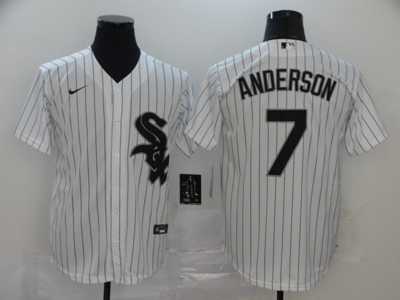 White Sox 7 Tim Anderson White 2020 Nike Cool Base Jersey