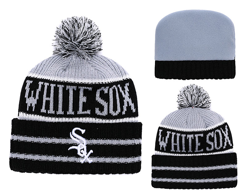 White Sox Team Logo Black Pom Knit Hat YD