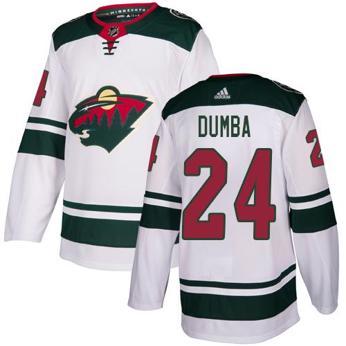 Wild #24 Matt Dumba White Road Authentic Stitched Hockey Jersey