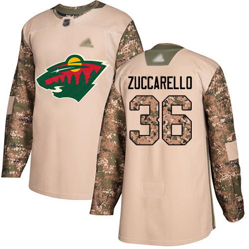 Wild #36 Mats Zuccarello Camo Authentic 2017 Veterans Day Stitched Hockey Jersey