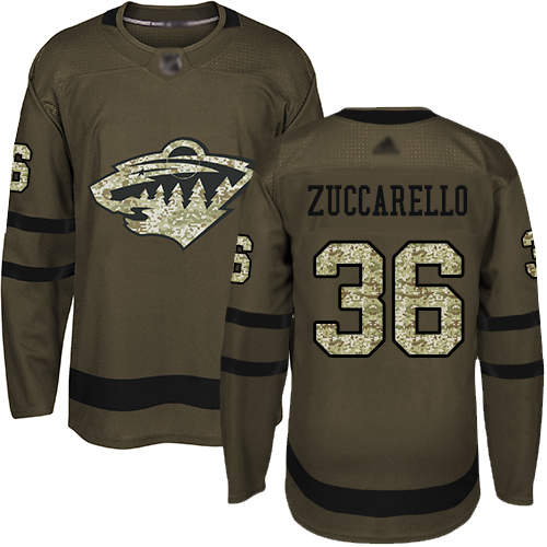 Wild #36 Mats Zuccarello Green Salute to Service Stitched Hockey Jersey