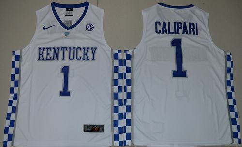 Wildcats #1 John Calipari White Basketball Elite Stitched NCAA Jersey