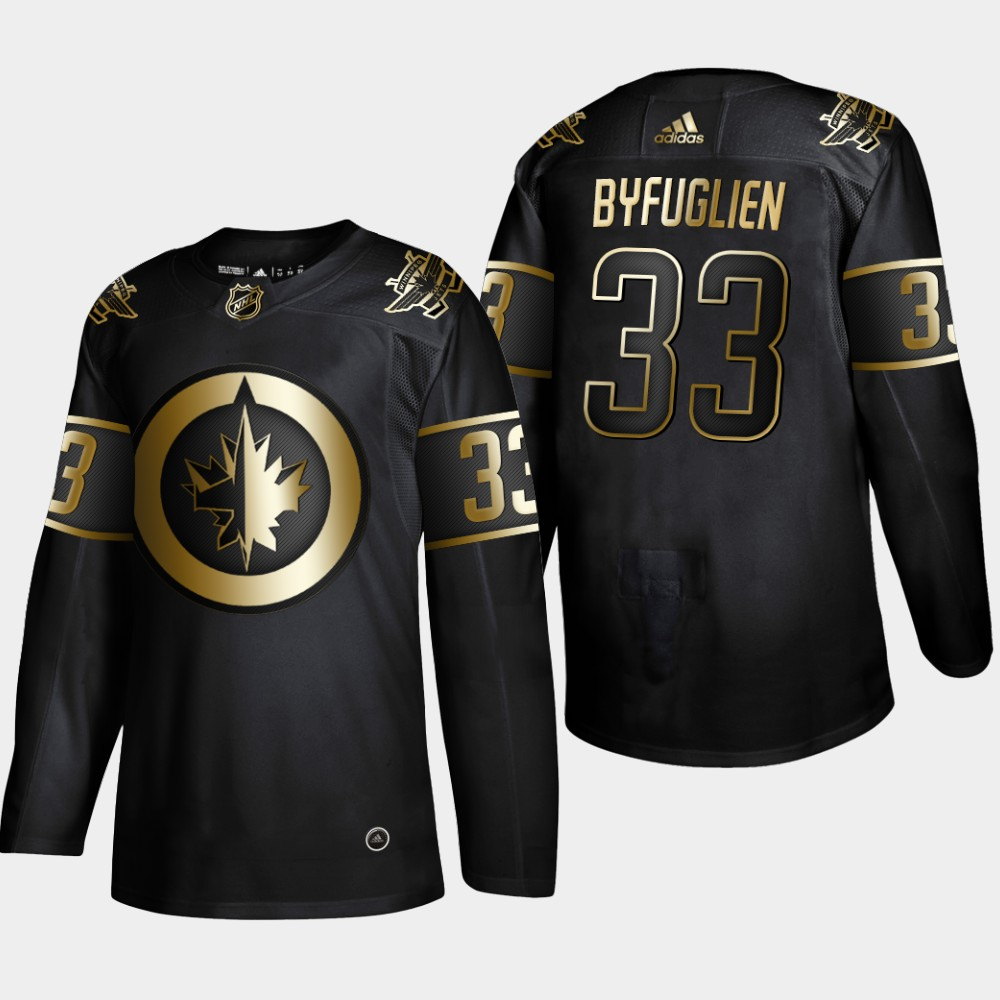 Winnipeg Jets 33 Dustin Byfuglien Black Gold Adidas Jersey