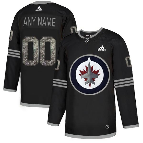 Winnipeg Jets Black Shadow Logo Print Men's Customized Adidas Jersey