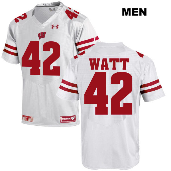 Wisconsin Badgers #42 T.J. Watt Whtie Under Armour Stitched NCAA Jersey