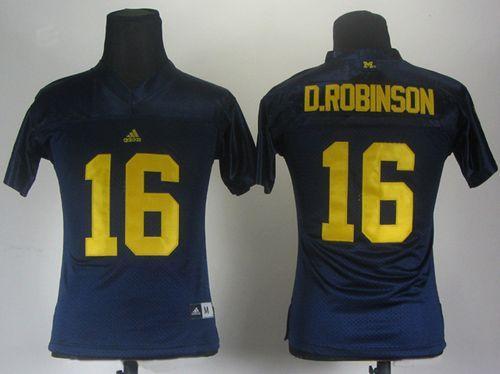 Wolverines #16 Denard Robinson Blue Women's Stitched NCAA Jersey