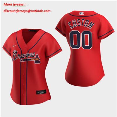 Women's Custom Atlanta Braves 2020 Red Alternate Replica Jersey