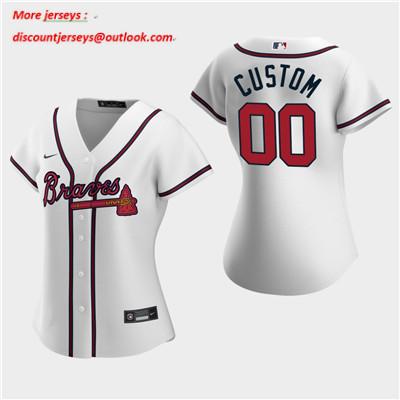 Women's Custom Atlanta Braves 2020 White Home Replica Jersey