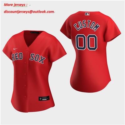Women's Custom Boston Red Sox 2020 Red Alternate Replica Jersey