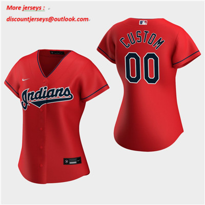 Women's Custom Cleveland Indians 2020 Red Alternate Replica Jersey