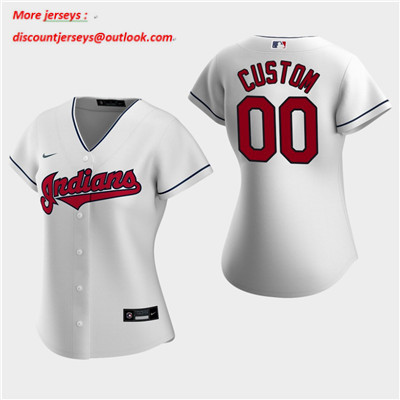 Women's Custom Cleveland Indians 2020 White Home Replica Jersey