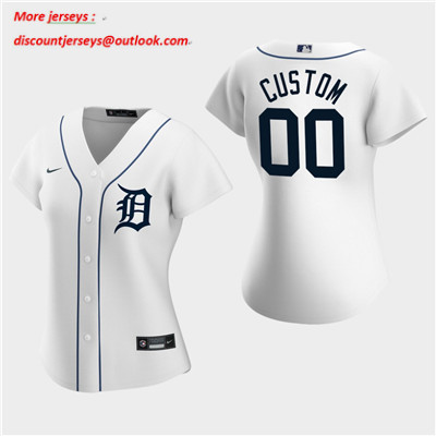 Women's Custom Detroit Tigers 2020 White Home Replica Jersey