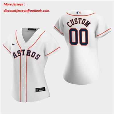 Women's Custom Houston Astros 2020 White Home Replica Jersey