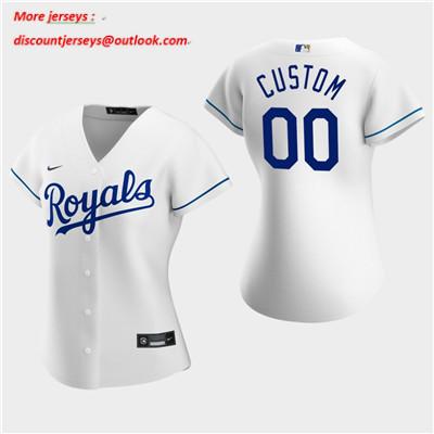 Women's Custom Kansas City Royals 2020 White Home Replica Jersey