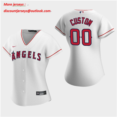 Women's Custom Los Angeles Angels 2020 White Home Replica Jersey