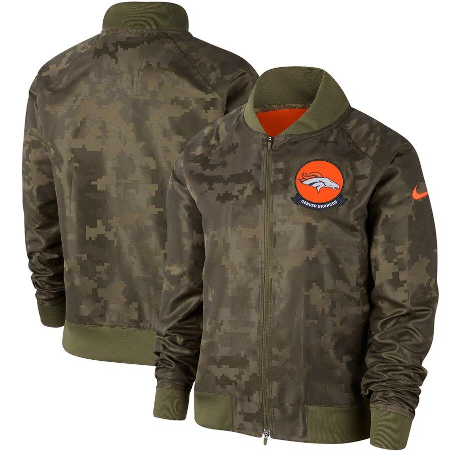Women's Denver Broncos Nike Olive 2019 Salute To Service Full Zip Bomber Jacket