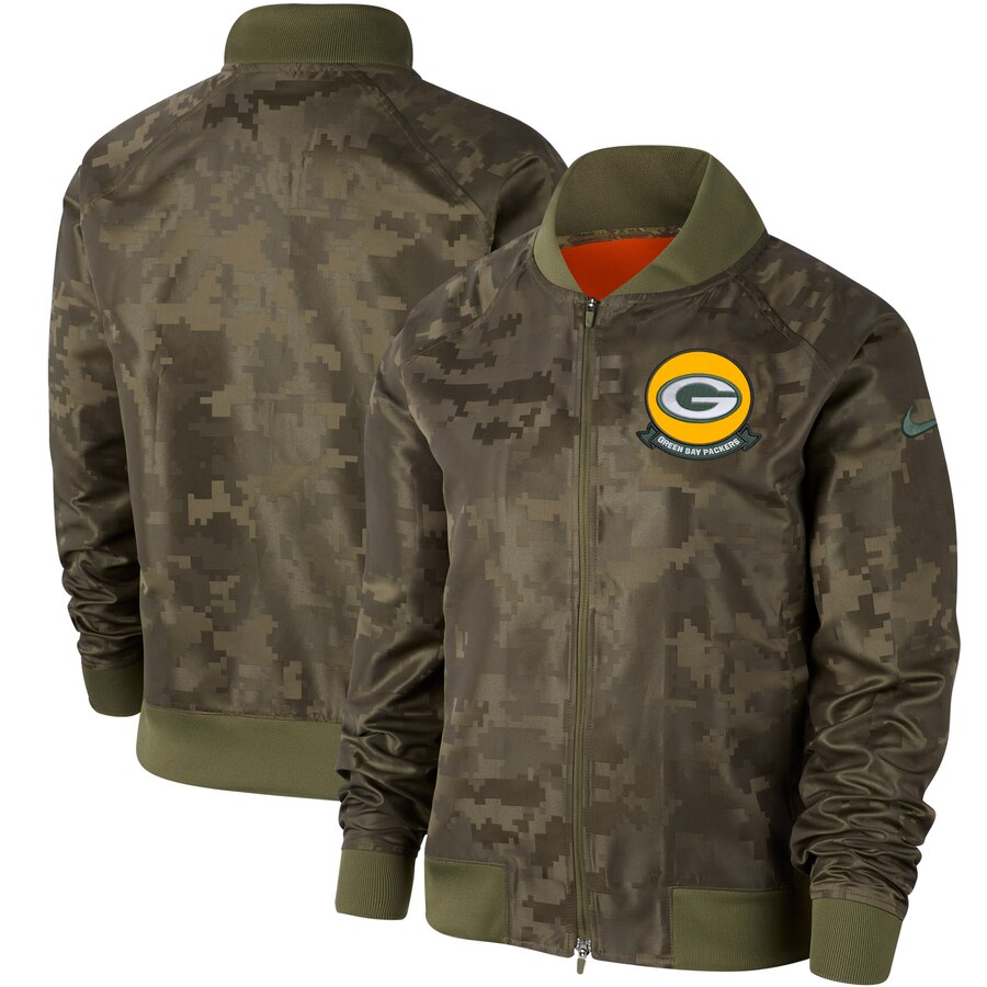 Women's Green Bay Packers Nike Olive 2019 Salute To Service Full Zip Bomber Jacket