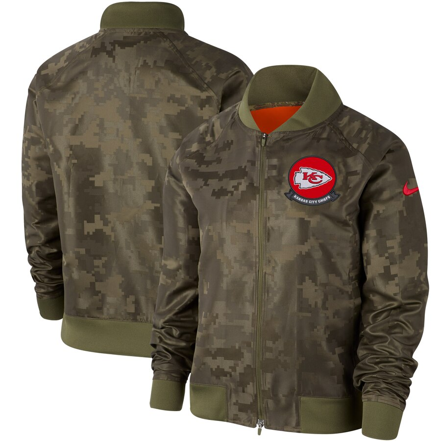 Women's Kansas City Chiefs Nike Olive 2019 Salute To Service Full Zip Bomber Jacket