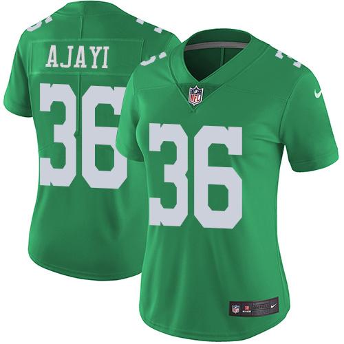 Women's Nike Philadelphia Eagles #36 Jay Ajayi Green Stitched NFL Limited Rush Jersey