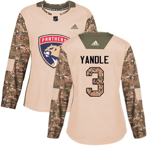 Women's Panthers #3 Keith Yandle Camo Authentic 2017 Veterans Day Women's Stitched Hockey Jersey