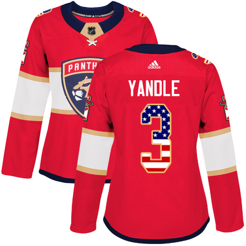 Women's Panthers #3 Keith Yandle Red Home Authentic USA Flag Women's Stitched Hockey Jersey