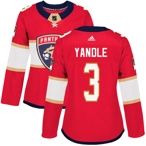 Women's Panthers #3 Keith Yandle Red Home Authentic Women's Stitched Hockey Jersey