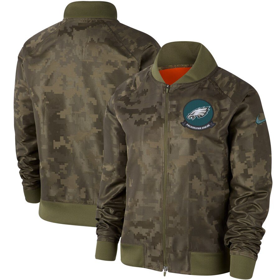 Women's Philadelphia Eagles Nike Olive 2019 Salute To Service Full Zip Bomber Jacket