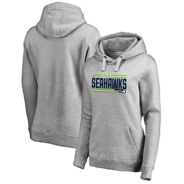 Women's Seattle Seahawks NFL Pro Line By Fanatics Branded Ash Iconic Collection On Side Stripe Pullover Hoodie