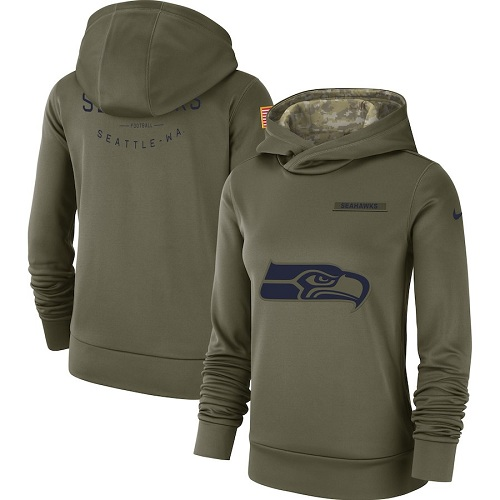 Women's Seattle Seahawks Nike Olive Salute to Service Sideline Therma Performance Pullover Hoodie