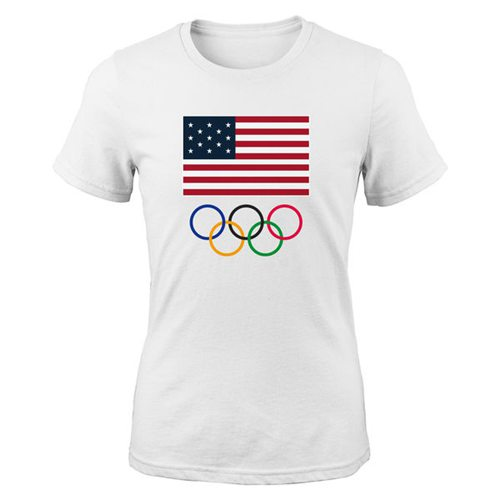 Women's Team USA 2016 Olympics Flags & Rings T-Shirt White