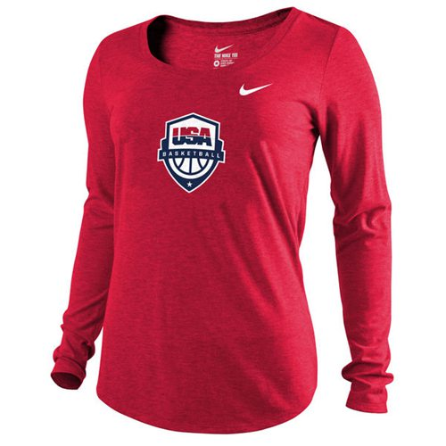 Women's Team USA Basketball Nike Scoop Tri-Blend Long Sleeves T-Shirt Red